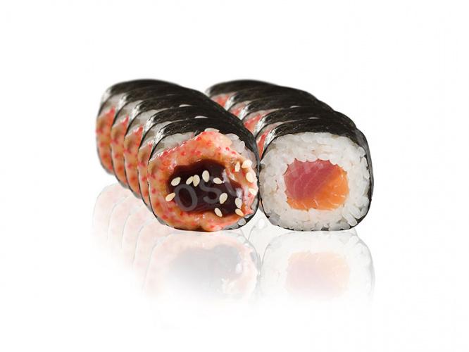 Ролл Вулкан с тунцом и лососем