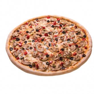 Пицца Грибы и мясо 33 см на толстом тесте