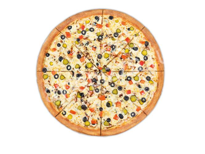 Пицца Грибы и Мясо 33 см на тонком тесте