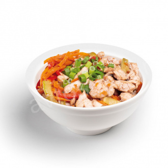 Chicken and vegetable rice noodles
