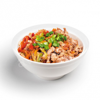 Pork and vegetable udon noodles