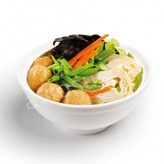 Суп с лапшой, фрикадельками из курицы и грибами