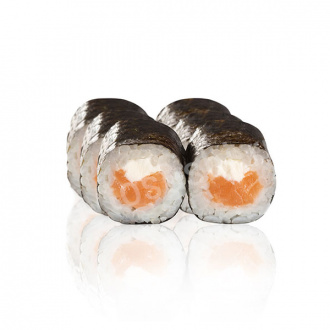 Roll with salmon and cream cheese