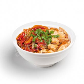 Salmon udon noodles