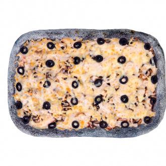 Пицца чёрная Курица-грибы