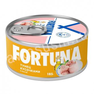 Тунец Fortuna кусоч в масле 185г